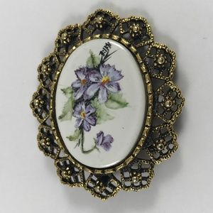 Vintage Flower Brooch, Antique Style Flower Brooch